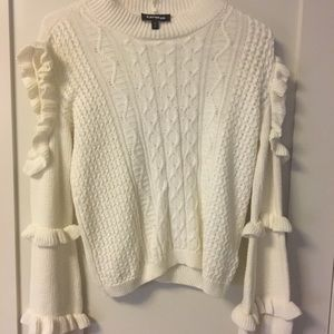Off white cold shoulder cable knit sweater